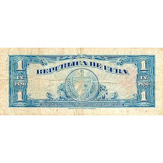 1949 - Cuba P77a 1 Peso (VF) banknote