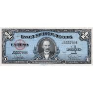 1960 - Cuba P77b 1 Peso (VF) banknote