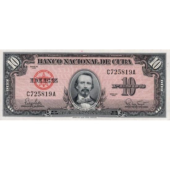 1960 - Cuba P79b 10 Pesos  banknote