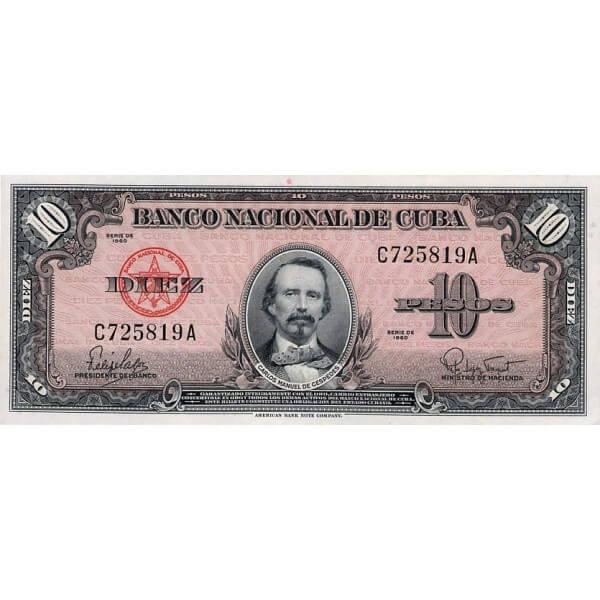1960 - Cuba P79b billete de 10 Pesos