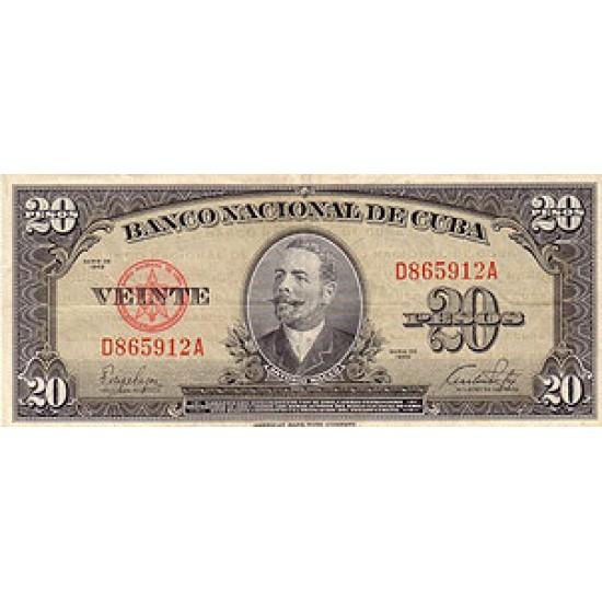 1949 - Cuba P80a 20 Pesos banknote