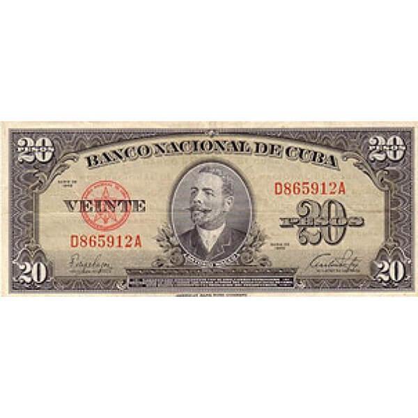 1949 - Cuba P80a  billete de  20 Pesos (EBC)