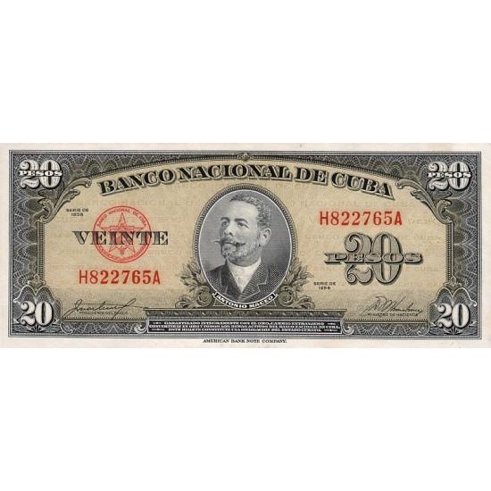 1958 - Cuba P80b 20 Pesos banknote
