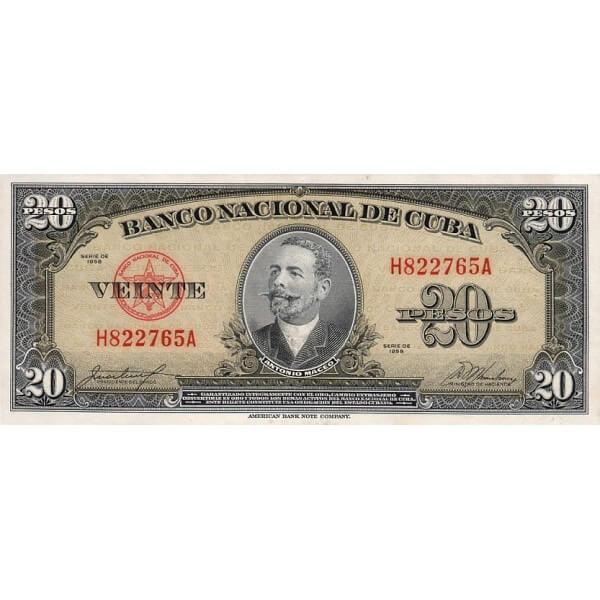 1958 - Cuba P80b billete de 20 Pesos