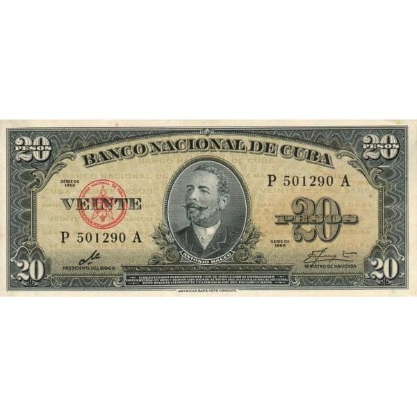 1960 - Cuba P80c billete de 20 Pesos ( Firma del Che )