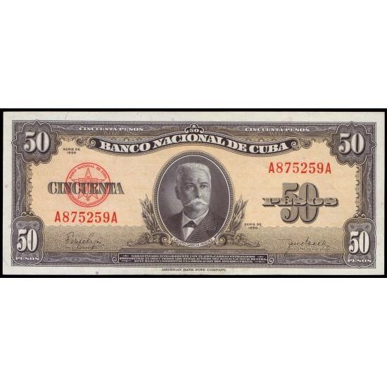 1950 - Cuba P 81a 50 Pesos  banknote