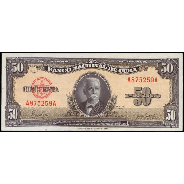 1950 - Cuba P 81a billete de 50 Pesos
