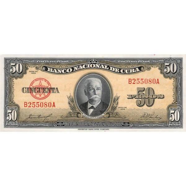 1958 - Cuba P81b billete de 50 Pesos