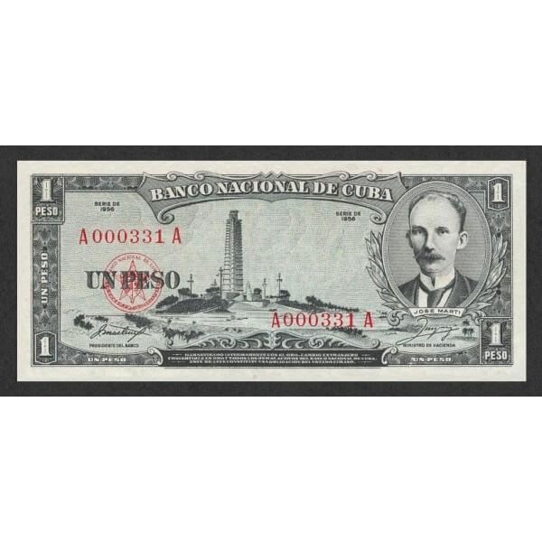 1956 - Cuba P87a 1 Peso banknote