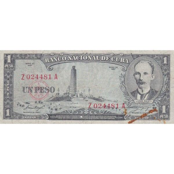 1957 - Cuba P87b billete de 1 Peso