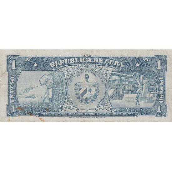 1957 -  Cuba P87b  1 Peso  banknote