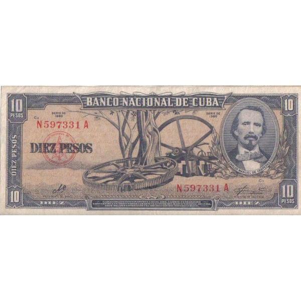 1956 - Cuba P88a billete de 10 Pesos