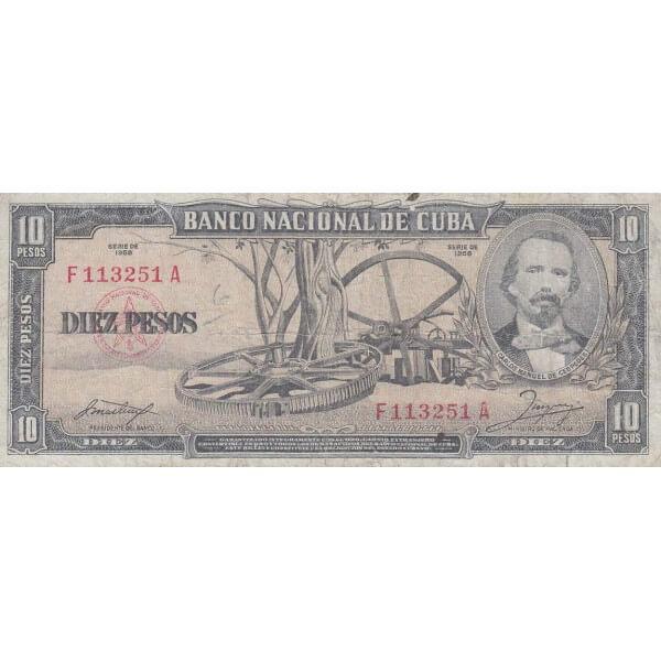 1958 - Cuba P88b billete de 10 Pesos