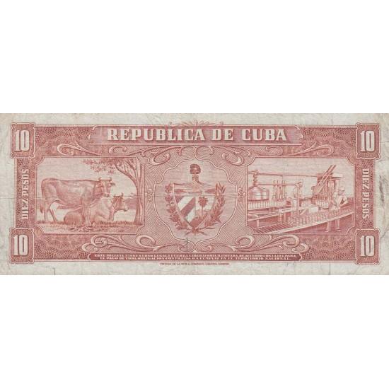 1958 - Cuba P88b 10 Pesos banknote