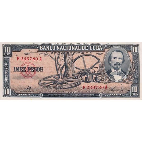 1960 - Cuba P88c  billete de 10 Pesos ( Firma del Che )