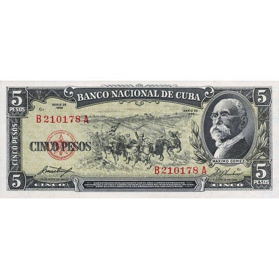 1958 - Cuba P91a 5 Pesos (VF) used banknote