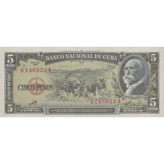 1960 Cuba pick 91c 5 Pesos Banknote (Che Guevara signature)