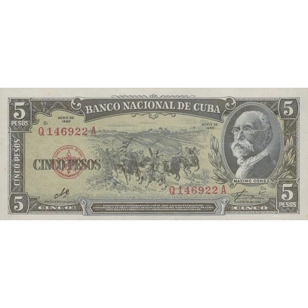 1960 - Cuba P91c billete de 5 Pesos ( Firma del Che )