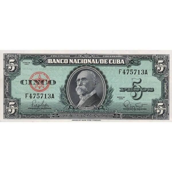 1960 - Cuba P92 5 Pesos banknote