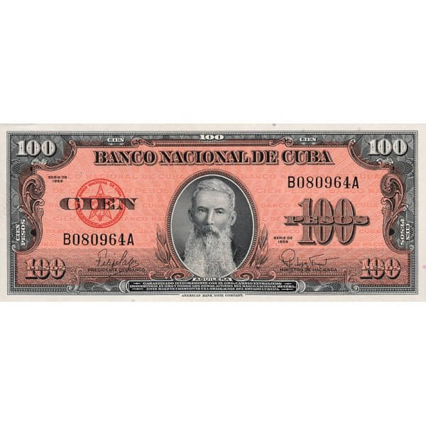1959 - Cuba P93 billete de 100 Pesos
