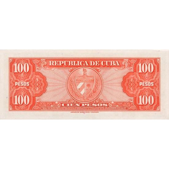 1959 - Cuba P93 100 Pesos banknote