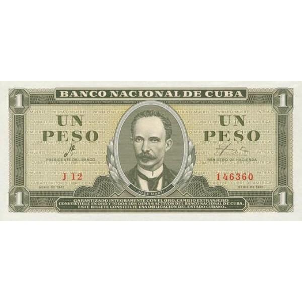 1965 - Cuba P94c billete de 1 Peso