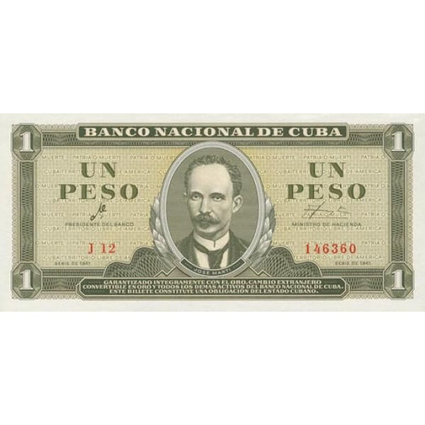 1965 - Cuba P94c 1 Peso  banknote