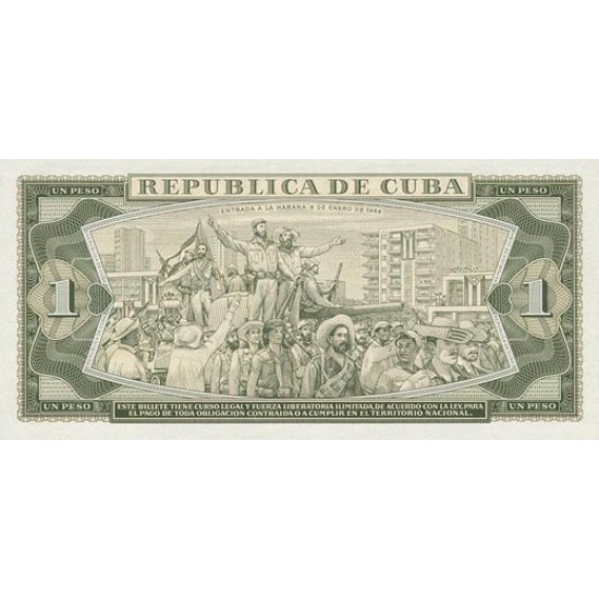 1964 - Cuba P94b 1 Peso  banknote