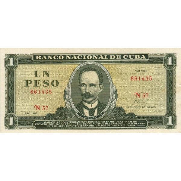1967 - Cuba P102a 1 Peso  banknote