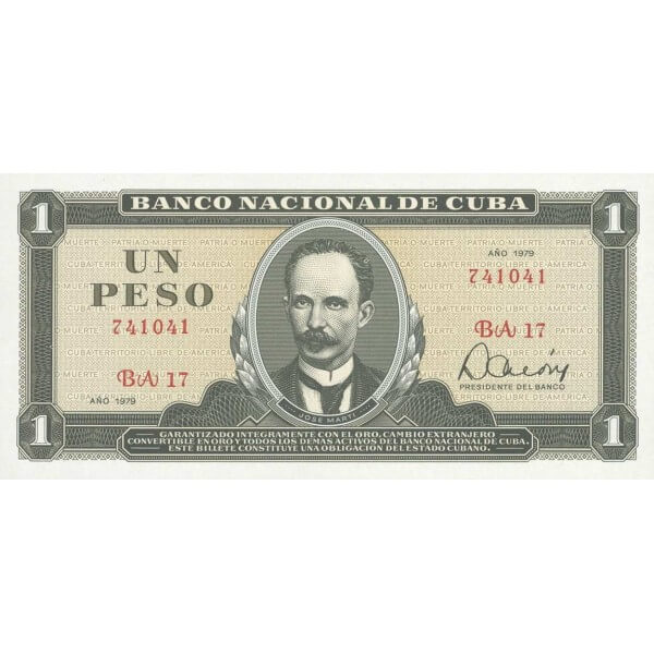 1980 - Cuba Pic 102b billete de 1 Peso