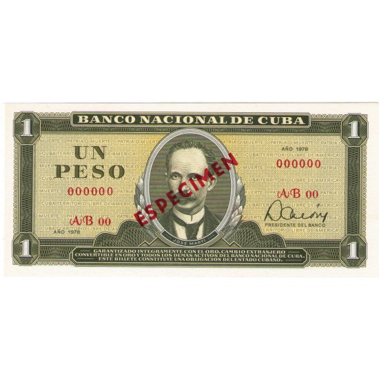1978 - Cuba P102bs1 1 Peso Specimen  banknote