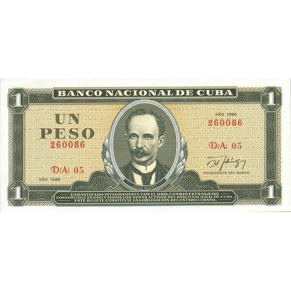 1988 - Cuba P102c billete de 1 Peso
