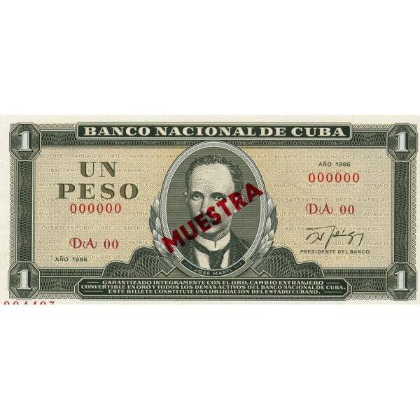 1982 - Cuba P102b  billete de 1 Peso Specimen Muestra