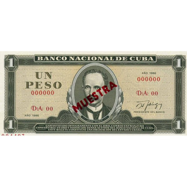 1982 - Cuba P102b 1 Peso banknote Specimen Muestra