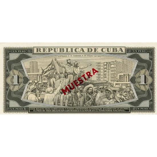 1978 - Cuba P102s 1 Peso banknote Specimen