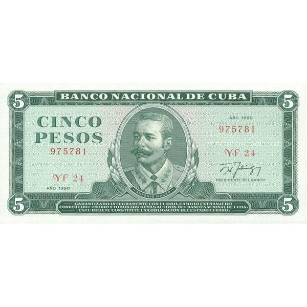 1990 - Cuba P103d 5 Pesos banknote