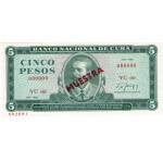 1986 - Cuba P103c cs 5 Pesos  (Muestra)  banknote
