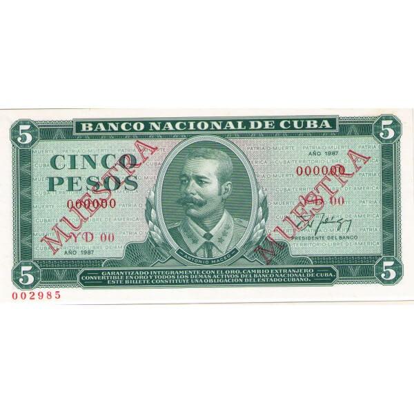 1987 - Cuba P103c cs  billete de 5 Pesos (Muestra)
