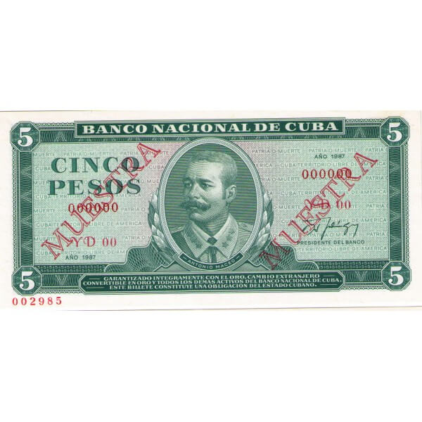 1987 - Cuba P103c cs 5 Pesos  (Muestra)  banknote