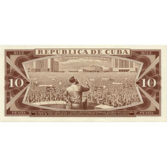 1987 - Cuba P104c 10 Pesos banknote