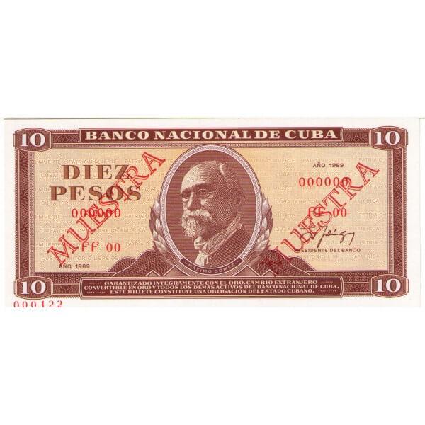 1987 - Cuba Pic 104c  billete de 10 Pesos (Muestra)