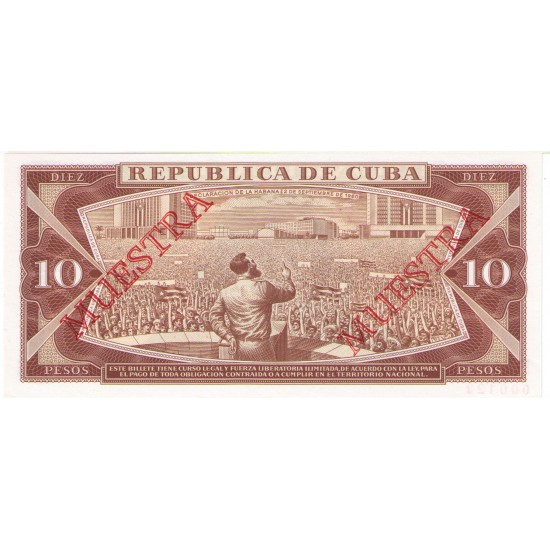 1987 - Cuba Pic 104c   3 Pesos (Muestra)  banknote