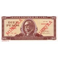 1989 - Cuba P104d 10 Pesos banknote Specimen