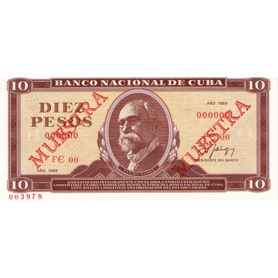 1988 - Cuba P104 10 Pesos banknote (Muestra)