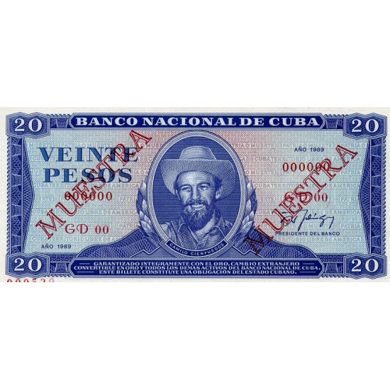 1983 -Cuba P105c 20 Pesos banknote Specimen Muestra