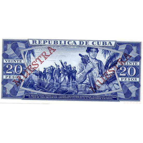 1985 - Cuba P105c  20 Pesos banknote  Specimen Muestra