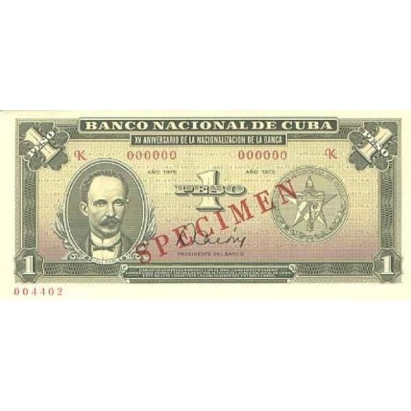 1975 - Cuba P106s 1 Peso  banknote Specimen