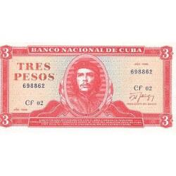 1989 - Cuba P107b 3 Pesos banknote