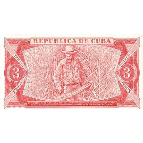 1984 - Cuba P107a 3 Pesos banknote