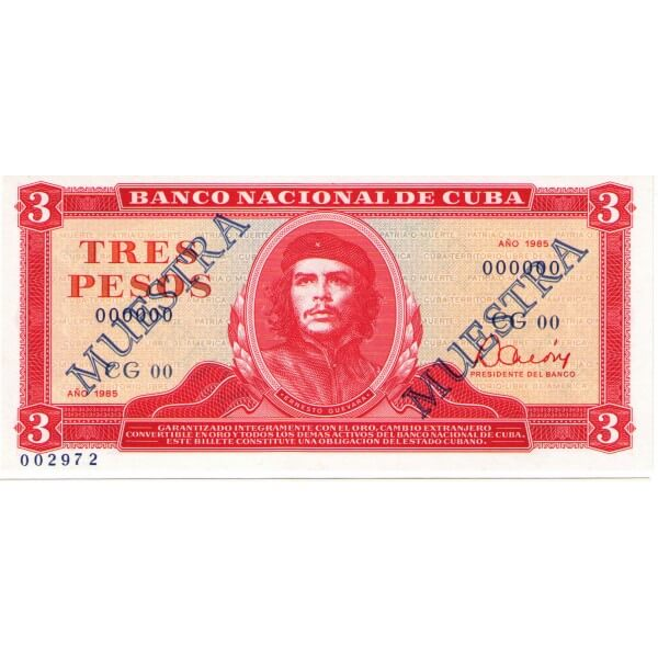 1985 - Cuba P107  3 Pesos  banknote Specimen Muestra